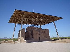 Casa Grande ruins under shelter; shelter was b...