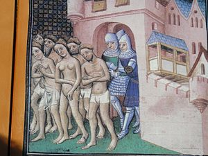 Cathars being expelled from Carcassonne in 1209.