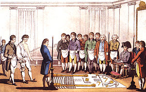 Initiation of an apprentice Freemason around 1...