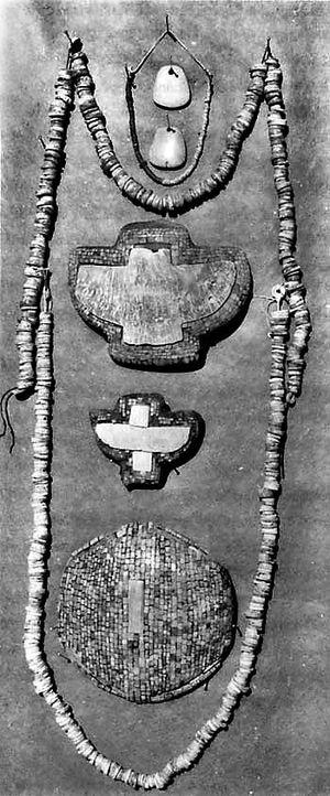 Hohokam turquoise mosaics. Found in 1925 in Ca...