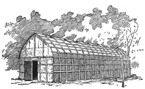 An Iroquois longhouse.