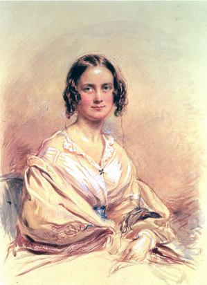 Water-color of Emma Darwin (1840) by George Ri...